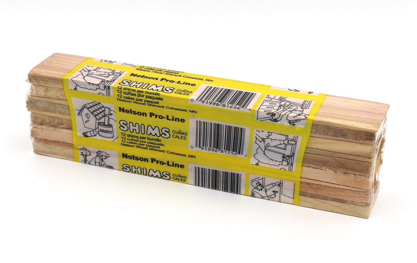 A 12-count bundle of the Nelson Wood Shims Pro line shims