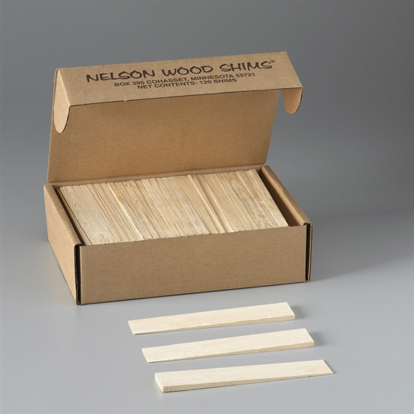 A 120-count box of pine shims - open box display